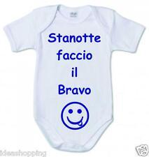 """BODY bambino  BIANCO IN COTONE CON FRASE SIMPATICA """"STANOTTE FACCIO LA BRAVO"""""""