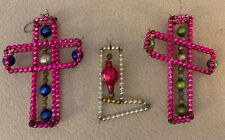 Vintage Wired Glass Beaded Ornaments 2 Crosses & 1 Christmas Stocking (#161)