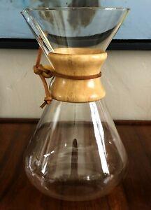 "CHEMEX GERMAN AUER SOG PYREX GLASS 11"" POUR OVER COFFEE MAKER URN POT VTG MCM"