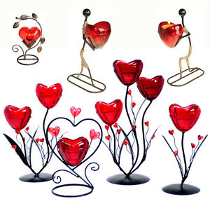 G01 - Decorative Heart Flowers Metal Romantic Candle Holder -  Hearts, Man, Lady