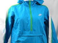 Nike Youth Windbreaker Hood 1/2 Zip Jacket Pullover Size L / 14 Blue Green White