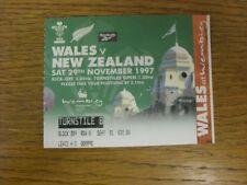 29/11/1997 Ticket: Wales v New Zealand [At Wembley].  Footy Progs/Bobfrankanelvi