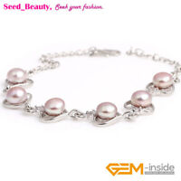 6-7mm Freshwater Pearl Beads Heart Shape White Gold Plated Bracelet Xmas Gift