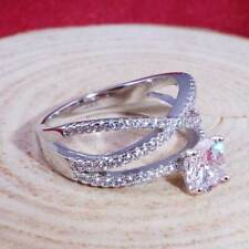 Infinity Women 925 Silver Ring Round Cut White Sapphire Wedding Ring Size 9