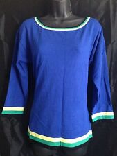 Cable & Gauge NEW Green Striped 3/4 Sleeve Boatneck Women's Size XL Blouse $58