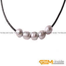"""9-10mm 5 Pearls Black Rope Strand Necklace Adjustable Size 18"""" Fashion Jewelry"""