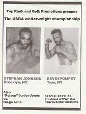STEPHAN JOHNSON vs KEVIN POMPEY-JUNIOR JONES ONSITE BOXING PROGRAM MARCH 6,1992