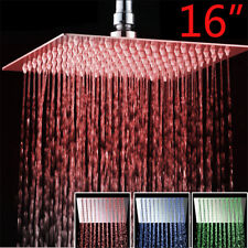 Shower Head 16-Inch LED Light Chrome Square Rain Top Sprayer Head Ultrathin Head