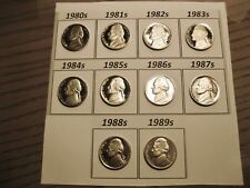 Set of 10 Cameo Gem Proof Jefferson Nickels 1980 to 1989 Set Like Those Shown