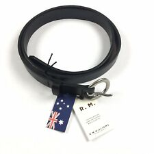 R.m. Williams Womens Thin Black Leather Belt Size 36 Made in Australia