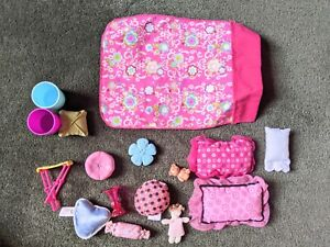 2000s Barbie Mattel Bedding Lot Blanket Pillows Teddy Toys 1/6th Scale Diorama