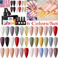 MEET ACROSS 6Colors Gel Nail Polish Set Soak Off UV/LED Manicure Nail Art Kit US