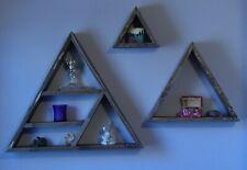 "New listing Handmade Wooden Triple Triangle Floating Shelf set 24"",16"" & 8"" Dark Walnut"