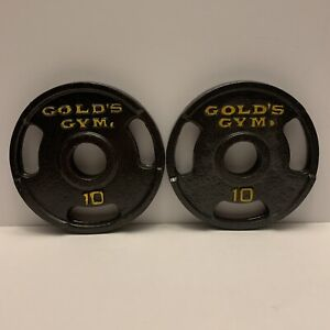 """VINTAGE 10 Lb Golds Gym 2"""" Olympic Grip Weight Plates Set Of 2 - 20 lb Total"""