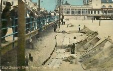 Atlantic City New Jersey~Crowds Lean Over Rail to View Sand Sculptors Work~1908