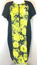 Michael Kors women dress Sz 22w Black yellow green floral short sleeves career