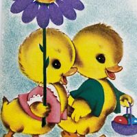 Vintage Mid Century Easter Greeting Card Cute Ducks Chicks Flower Umbrella