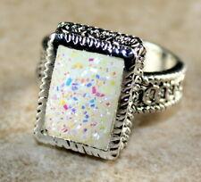 SILVER Vintage Style White Rainbow Titanium Druzy 10x14mm Ring Size 6.75