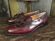 SALVATORE FERRAGAMO Maroon US Size 7 2E Leather Slip On Mens Dress Shoes Tassels