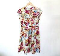Milano Italy Vintage Dress Size 36 Size 10 Floral Fit & Flare Cotton Blend