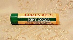 Burt's Bees Mint Cocoa 100% Natural Moisturizing Lip Balm Stick Dry Chapped Skin
