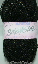 500g PATONS BITZ OF GLITZ DK KNITTING CROCHET YARN BLACK WITH GOLD LUREX