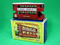 Matchbox Lesney Y3-1 1907 London 'E' Class Tramcar 'D2' Box (WHITE COW CATCHERS)