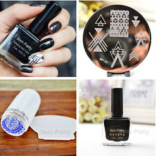 4Pcs Nail Art Stamping Plate 15ml Stamp Polish Stamper W/Scraper Kit  BORN PRETT