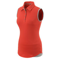 Adidas Women Climalite Essentials Heather Sleeveless Polo (S) Ray Red AE9837
