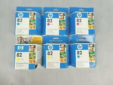 Job Lot 6x HP 82 Printer Ink Cartridges 2x Yellow 2x Cyan 2x Magenta EXPIRED INK