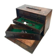 Antique Neslein Wooden Engineers Toolbox & Tools / Cabinet / Collectors Chest