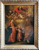 Holy Family & God Spanish Renaissance Old Master 16th/17thC Antique Oil Painting