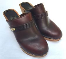 Women's 1960's 1970's Vintage Red-Brown Leather Clogs, Made in Denmark, Size 7