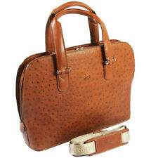 Ladies Ostrich Leather Handbag Brown Cognac Tony Perotti Italian  TP-0049O