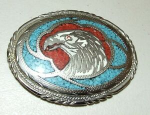 Vintage Eagle Native American Western Belt Buckle Inlaid with Turquoise & Coral