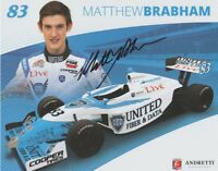 2014 Matthew Brabham signed United Fiber & Data MRTI Indy Lights postcard
