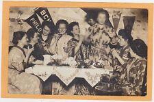 Real Photo Postcard RPPC - College Girls Eating Brownies Popcorn Balls Pennants