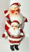 """(2) Vintage Flocked Velvet Over Plastic Santa Claus Christmas 9"""" & 6"""" Figurines"""