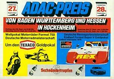 Programm 1975 ADAC Preis Hockenheim Interserie Can Am DRM Motorrad Formel 750 VW