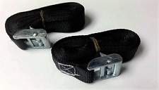 Set Of 2 Buckled Straps Tie Down Lashing Cam Buckle Roof Rack 25mm x 3 mts black