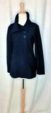 Ibex Black Wool Knit Wide Collar Off Center Button Front Swing Cardi/Jacket S Ln