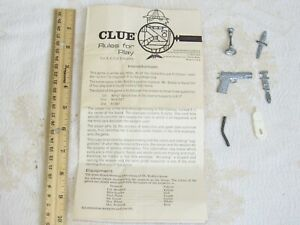 Vintage 1963 Mid-Century CLUE Game - Instructions & Six ORIGINAL WEAPONS!