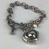 Ecclissi Womens 32760 Sterling Silver Heart Charm Bracelet Watch Silver Tone