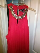 Miss Chievous Women's Neck Studded Red Tank Top Open Back Blouse
