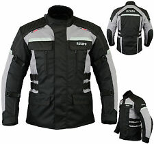 Mens Motorbike Motorcycle Jacket Waterproof Textile Armour Black / Grey, XL-1