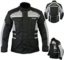 Mens Motorbike Motorcycle Jacket Waterproof Textile Armoured Black / Grey, XL