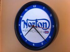 Norton Motorcycle Garage Man Cave Advertising Black Wall Clock Sign