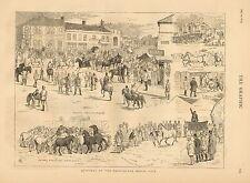 English, Horncastle Horse Fair, Horse Show & Sale, Vintage, 1874 Antique Print
