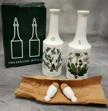 Portmeirion BOTANIC GARDEN Two Ceramic Bottles Oil & Vinegar Cruets Soy Sauce