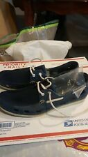 Perry Ellis America Men's Navy Leather-Like Loafer Shoes Size 8-9 Medium!